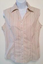 Women's Taylor Marco striped button down sleeveless shirt size S