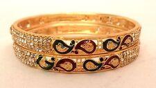 Indian Gold Plated Maroon Green Meenakari Stone Bangles Set Size 2.8 Jewelry