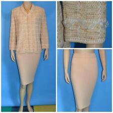 St John Collection Beige Gold Jacket Skirt L 10 12 2pc Suit Zipper Slik Trims