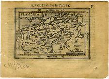 1609 Genuine Antique miniature map of Belgium, Flandria, Gendt. Ortelius