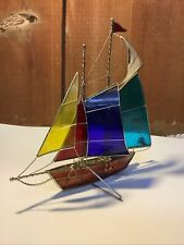 Decorative 3D Stained Glass Sailing Boat Yacht Freestanding Nautical Final Sale