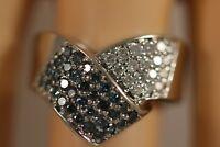 HEAVY WIDE 14K WHITE GOLD .85CT BLUE DIAMOND STARBURST CLUSTER ART DECO RING SZ7