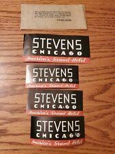 4 VTG 1930s Stevens Hotel Chicago Black Red Luggage Baggage Labels Stickers