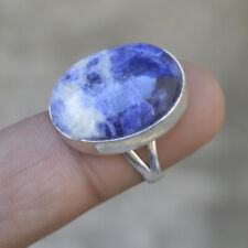 Natural Oval Cab Blue Sodalite 925 Sterling Silver Birthstone Gift Ring Size 6