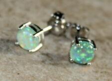 SILVER Elegant Green Fire Opal Round Stud Earrings Jewelry Woman Gift #3