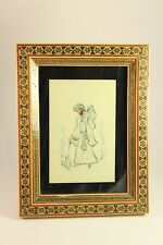 Vtg Khatam Inlaid Marquetry Persian Iran Celluloid Art Painting Picture Frame
