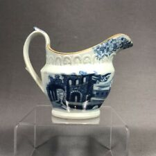 Early 19th Century English Pearlware Pottery Castle Transferware Pitcher