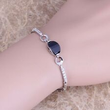 Majestic Black Sapphire White Topaz Silver Link Chain Bracelet For Women S0343