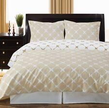 3pc Ivory/Linen Geometric 300TC Egyptian Cotton Reversible Duvet Set King CKING