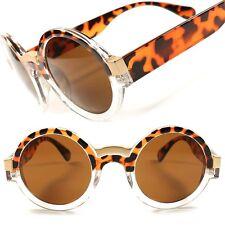 Tortoise Frame Designer Hipster Mens Womens Vintage Retro Round Sunglasses D50C