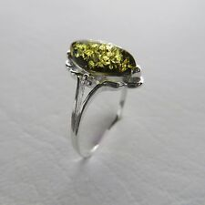 Size 7 (Size N 1/2, Size 54) Green / Gold BALTIC AMBER Ring, 925 SILVER *0316
