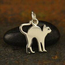 Sterling Silver Cutout Halloween Cat Charm