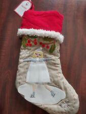 NWT Pottery Barn Kids Blonde Ice Skater Woodland Stocking NO MONO Christmas