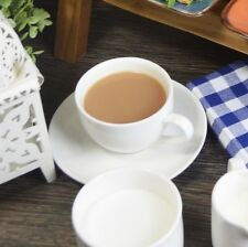 Set Of 6 Pure White Porcelain Tea Coffee Cups And Saucers 6.1oz 175ml