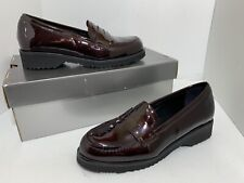La Canadienne Halle Platform Heel Loafer Driving Shoe Red Patent Leather US 6 M