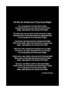 Do Not Go Gentle Into That Good Night by D.Thomas - Poem - A4 Size (Black/White)