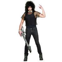 Adult 80's Heavy Metal Punk Rock Rocker Halloween Cosplay Costume Fishnet Shirt