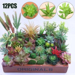 12PCS MIXED ARTIFICIAL SUCCULENTS PLANT FAKE PLANTS GARDEN HOME DECOR DECAL NEW
