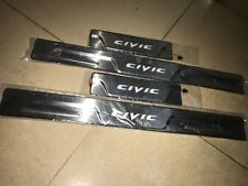 For Honda Civic 2012-2016 Blue LED 4-Door Stainless Scuff Plate Door Sill Guard