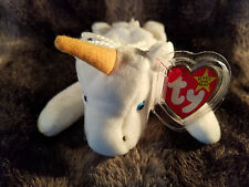 New 1993 Retired Mystic TY Beanie Baby PVC Pellets MWMT Tag Errors White Unicorn