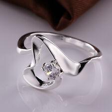 Wholesale Women New Elegant 925 Sterling Plated Jewelry Zircon Heart Ring Sz8 R4