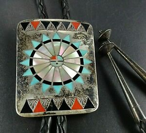 Vintage ZUNI Sterling Silver TURQUOISE CORAL Sun Face Inlay BOLO Fred Natachu