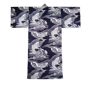 "Japanese 61""L Kimono Cotton Yukata KOI Fish Pattern/MADE IN JAPAN"