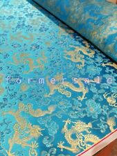 Fabric Silk Brocade Sky Blue and colour Gold Dragon -by half yard-