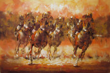 Horse Racing,Original Oil Painting,61 X 91 cm