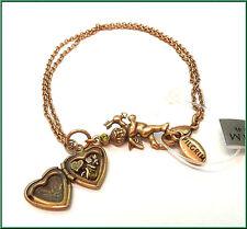 NEW PILGRIM 16K GOLD PLATED BRACELET SWAROVSKI CRYSTALS CHARM HEART OPEN LOCKET