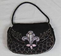 Kleine schwarze Tasche/Abendtasche aus Stoff mit zarter Perlenstickerei (G) /319