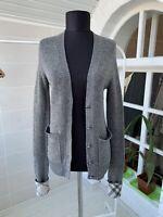 Women's Burberry Brit Grai Wool/Cashmere Nova Check Cardigan Sweater Sz - S