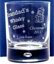 Personalised CHRISTMAS 2017 GRANDADS WHISKY Glass Tumbler Gift For Dad/Daddy