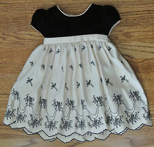 Girls CINDERELLA Black White Floral Embroidered Scalloped Lined Dress 24M EUC