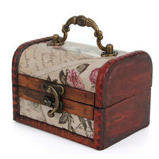 Wooden Vintage Treasure Pearl Jewelry Storage Box Case Organiser Ring Suitcase