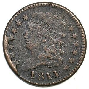 1811 C-1 R-4 4 Star Break Classic Head Half Cent Coin 1/2c