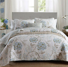 Reversible Quilted Cotton Coverlet Bedspread 3pc Set Queen King 230x250cm MP025