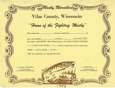 1973 Vilas County Wi Musky Certificate with cover letter Lot 2