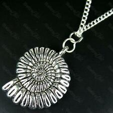 "3cm BIG SNAIL FOSSIL NECKLACE Fashion Vintage Silver METAL AMMONITE 18""chain"