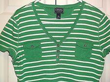 Ralph Lauren Womans Green & White Striped Short Sleeve Shirt Top Size XL Lk Nw