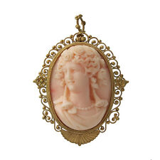 Victorian 22K Gold Carved Coral Cameo Pin / Pendant