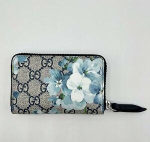 Gucci Blue Bloom Flower Supreme GG Canvas Zip Around Coin Wallet 546354 8499