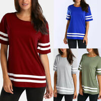 Women Short Sleeve Baseball Shirt Basic T-shirt Tee Tops Plus Size Tunic Blouse