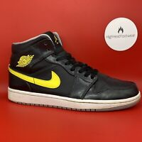Nike Air Jordan 1 Mid Black Yellow 2014 - UK 7.5 / US 8.5 / EU 42