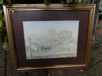 Framed M Carter Watercolour on Paper Painting of Bamburgh Castle