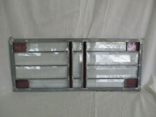 "Beveled Stain Glass Lead Window Panel Clear Purple Glass 18 1/2"" x 8"" Hanging"