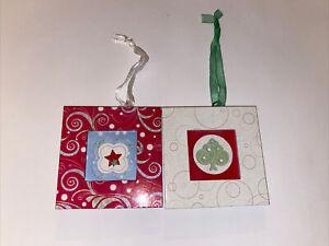 Lot of 2 Creative Memories Mini Frame Ornament Red & White NEW