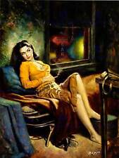 PAINTING PORTRAIT SMOKING WOMAN RELAX COUCH BREAK SOFA USA ART POSTER CC6654
