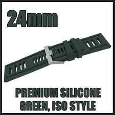 • • 24mm Green, Diver, ISO Style, Silicone Rubber, High Quality Watch Strap • •