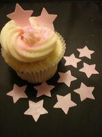 100 Mini Edible Wafer Rice Paper Pale Pink Star Cupcake Toppers - PRECUT